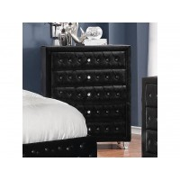 DEANNA BEDROOM COLLECTION - Deanna Contemporary Black and Metallic Chest