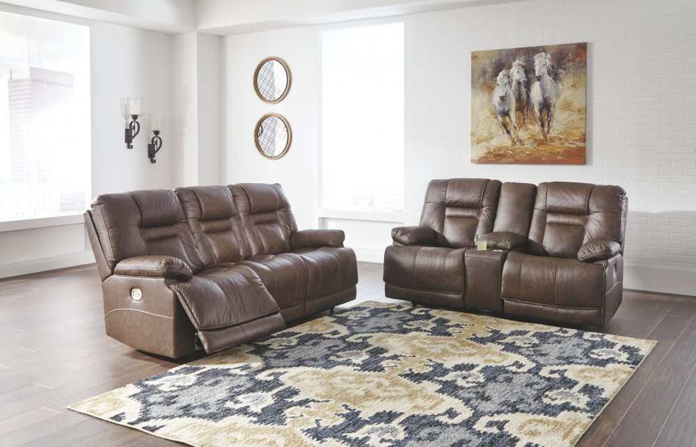 Wurstrow Umber Pwr Rec Loveseat Con Adj Hdrst