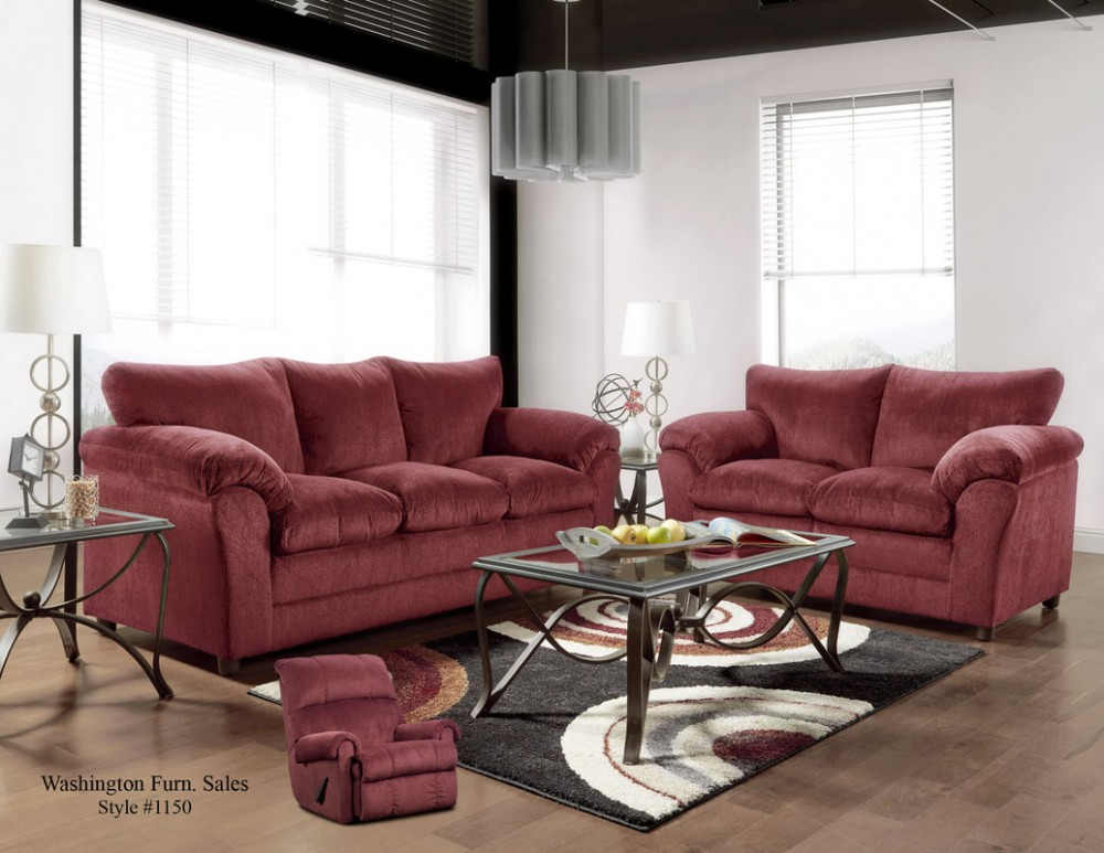 Kelly Burgundy Sofa & Loveseat