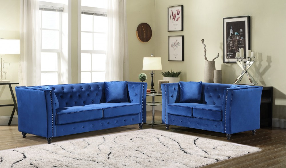JoJo Blue Sofa & Love Group | U136 - Blue | Living Room Sets | Price ...