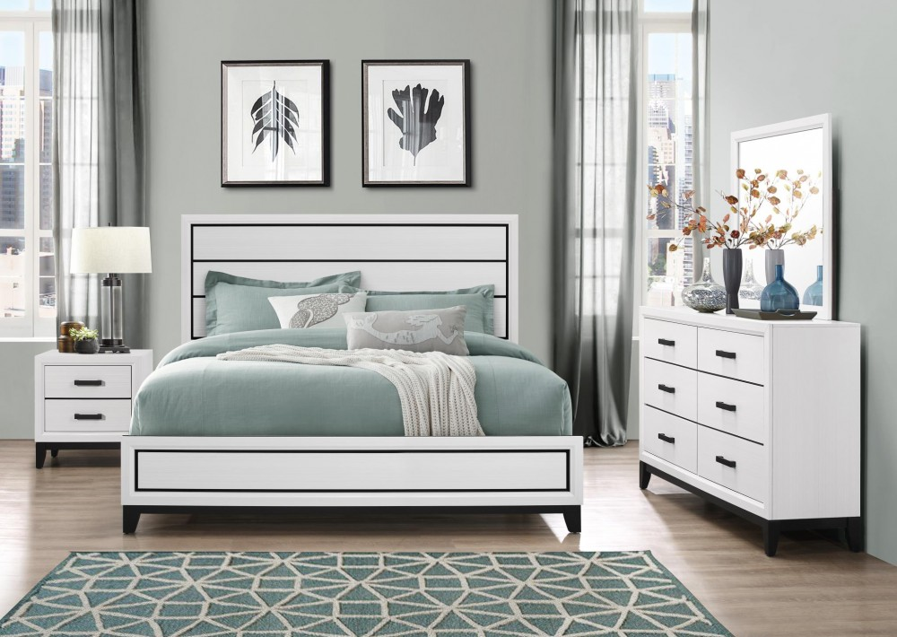 Kate White Dresser Mirror Queen Bed