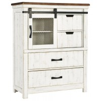 Wystfield - White/Brown - Four Drawer Chest