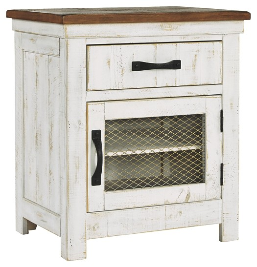 Wystfield - White/Brown - One Drawer Night Stand