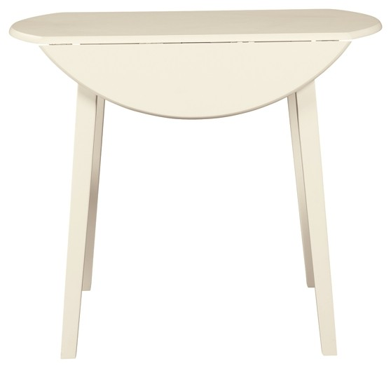 Slannery - White - Round DRM Drop Leaf Table
