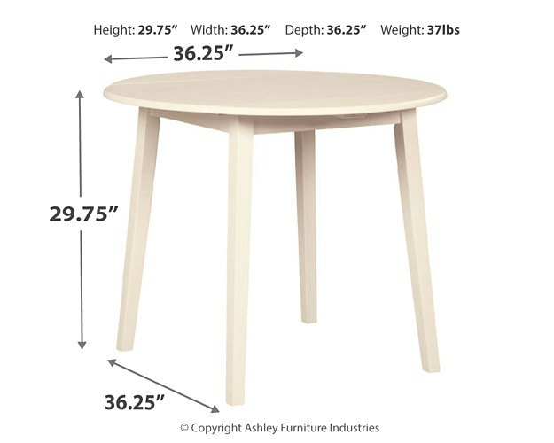 Slannery White Round Drm Drop Leaf Table D318 15