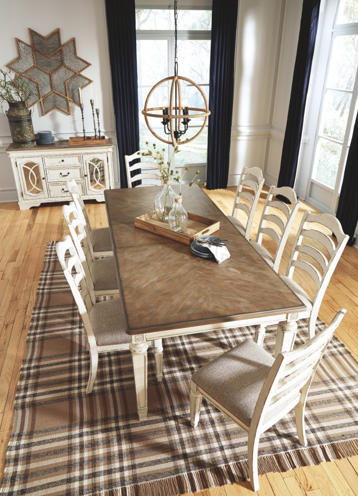 Realyn Chipped White Rect Dining Room Ext Table D743