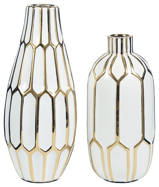 Mohsen - Gold Finish/White - Vase (2/CN)