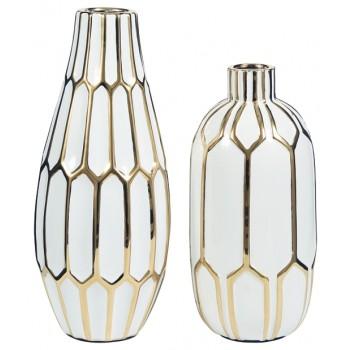 Mohsen - Gold Finish/White - Vase (2/CN)