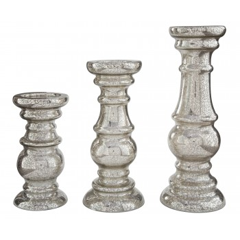 Rosario - Silver Finish - Candle Holder Set (3/CN)