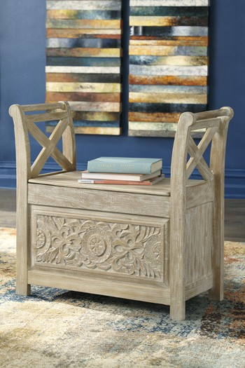 Signature Design By Ashley Fossil Ridge A4000039 Solid: Fossil Ridge - White Wash - Accent Bench