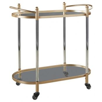 Cordland - Clear/Gold Finish - Bar Cart