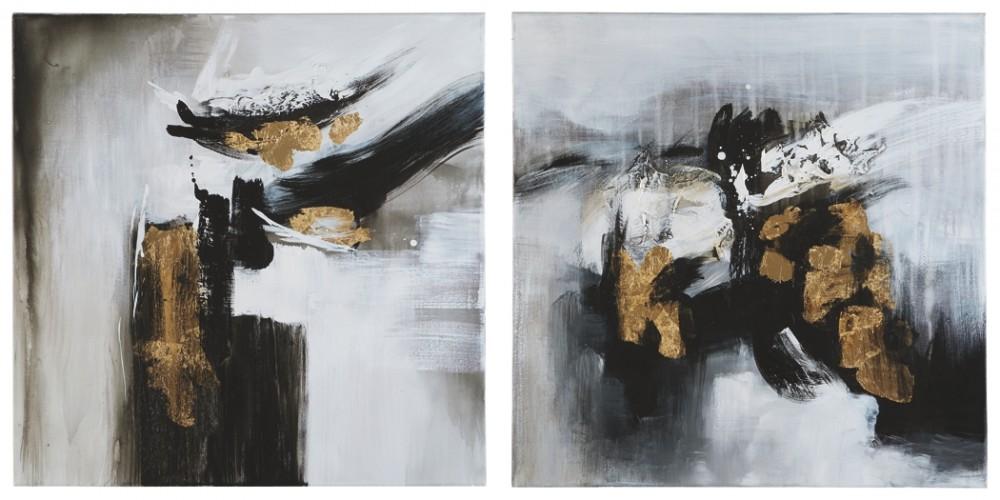 Jerrin - Black/White/Gold Finish - Wall Art Set (2/CN)