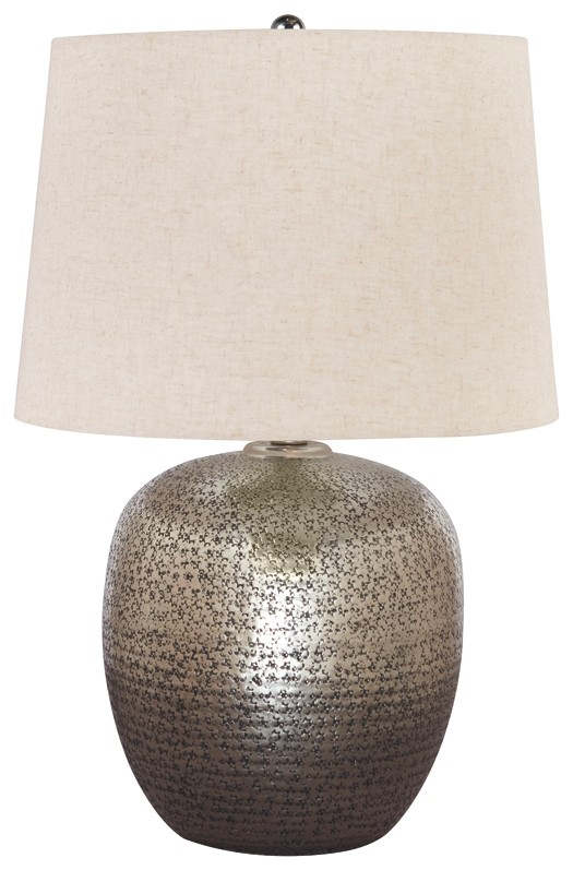 Magalie Antique Silver Finish Metal Table Lamp 1 Cn L207314