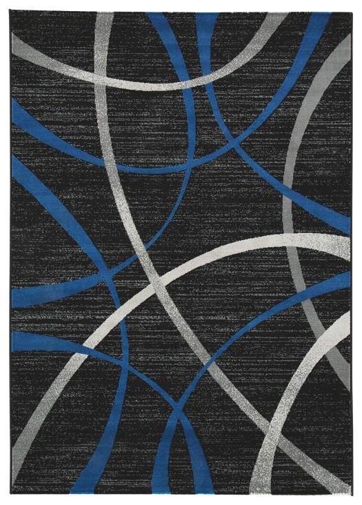 Jenue - Black/Gray/Blue - Large Rug
