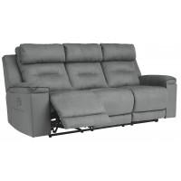 Trampton - Smoke - PWR REC Sofa with ADJ Headrest