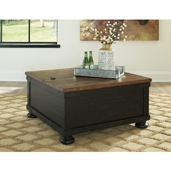 Farmhouse Lift Top Coffee Table.Valebeck Black Brown Square Lift Top Cocktail Table