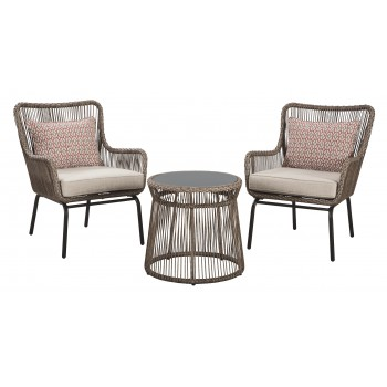Cotton Road - Brown - Chairs w/CUSH/Table Set (3/CN)