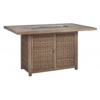 Beachcroft - Beige - RECT Bar Table w/Fire Pit