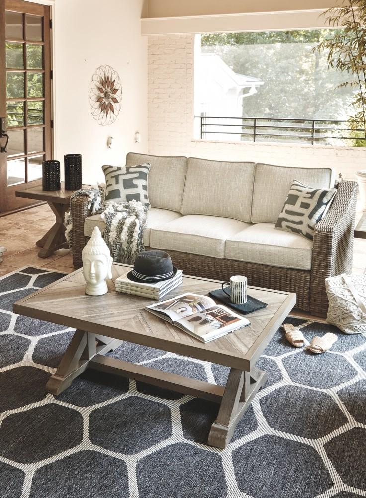 Beachcroft Beige Sofa With Cushion P791 838 Sofas