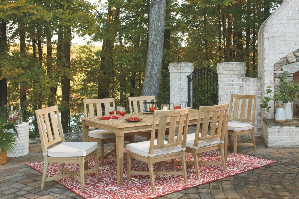 Clare View Beige Rect Dining Table W Umb Opt Tables