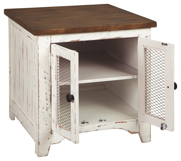 Wystfield White Brown Rectangular End Table