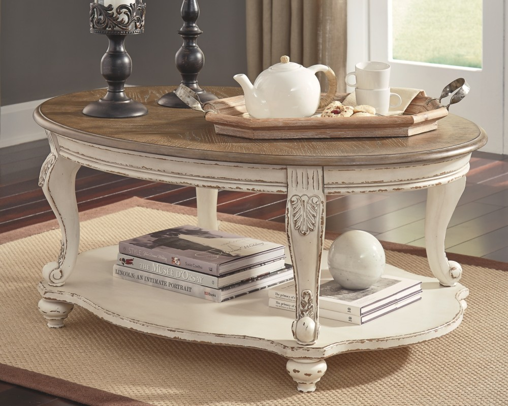 Realyn White Brown Oval Cocktail Table T743 0