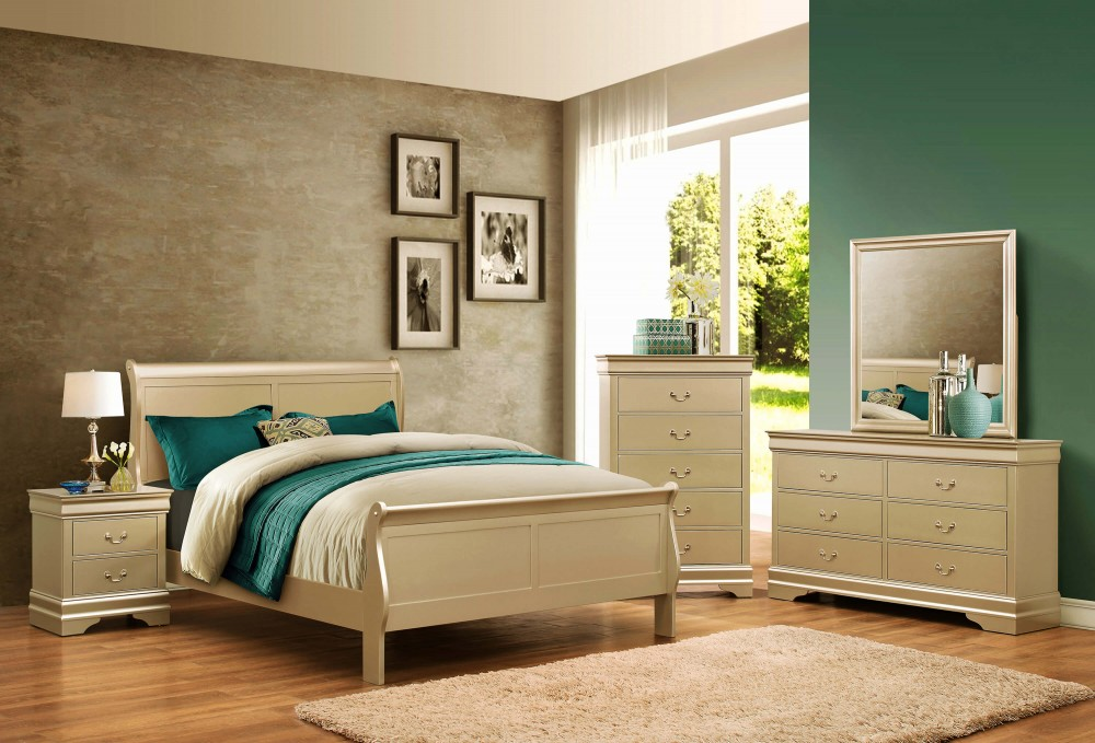 B3400 Champagne Queen Size Louis Philip Bedroom Set