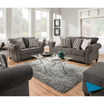 Reed Charcoal Sofa and Loveseat