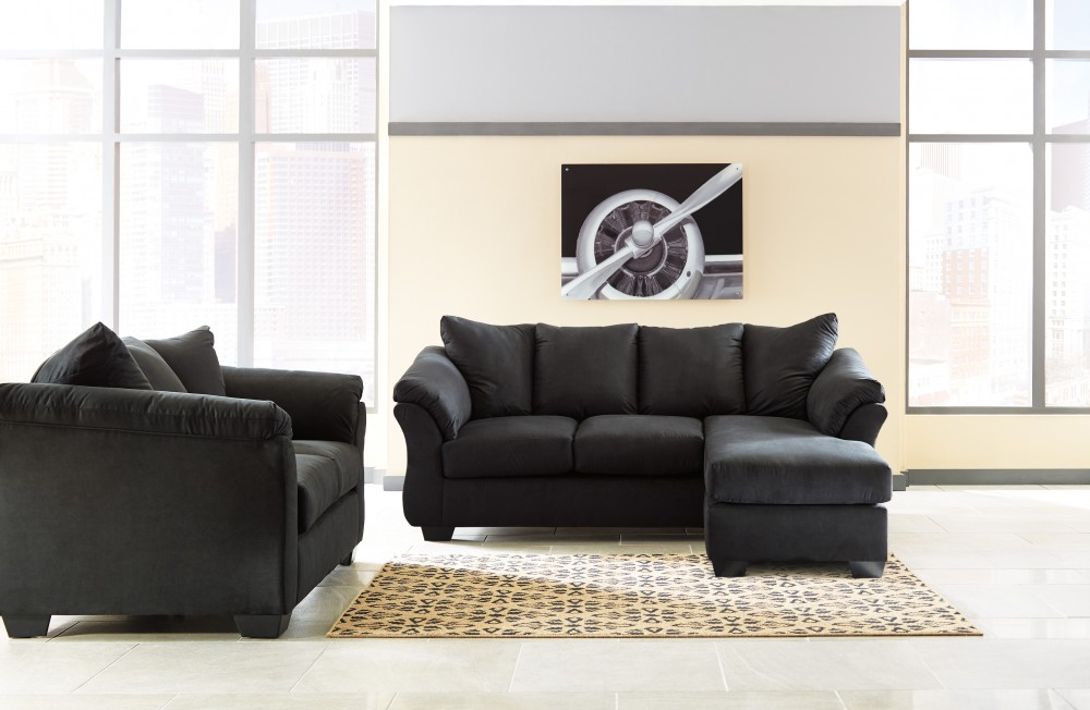 Darcy Black Sofa Chaise Loveseat