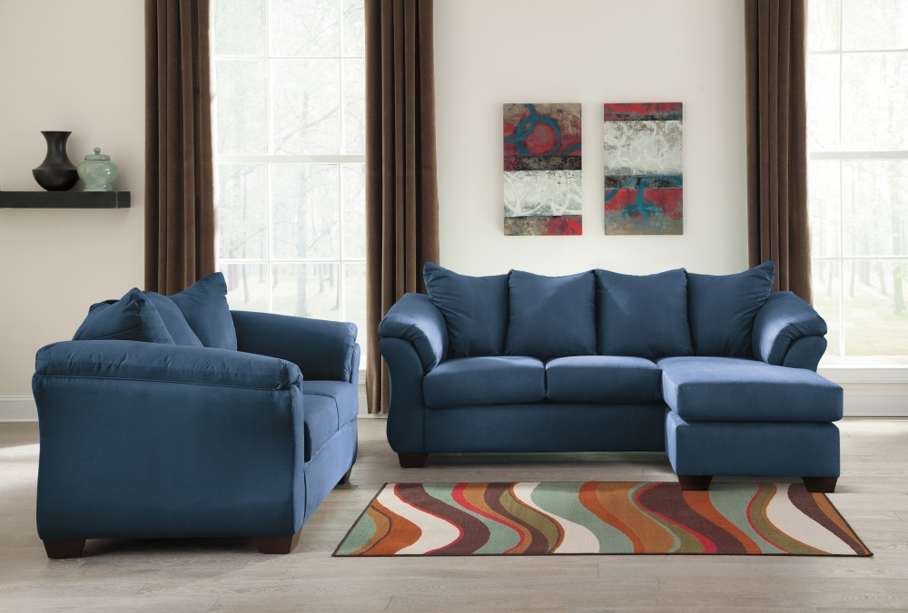 Darcy - Blue - Sofa Chaise & Loveseat