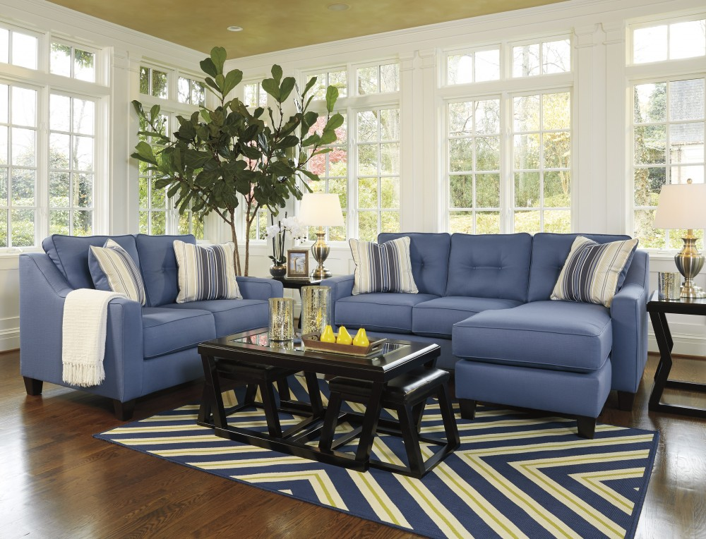Aldie Nuvella - Blue - Sofa Chaise & Loveseat