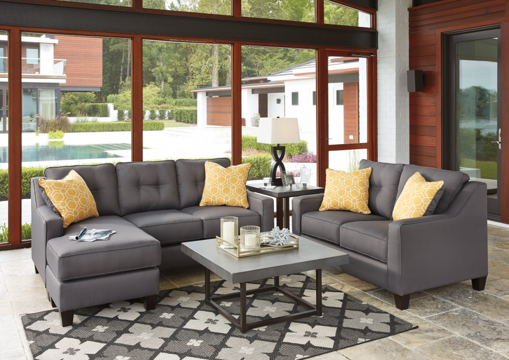 Aldie Nuvella - Gray - Sofa Chaise & Loveseat