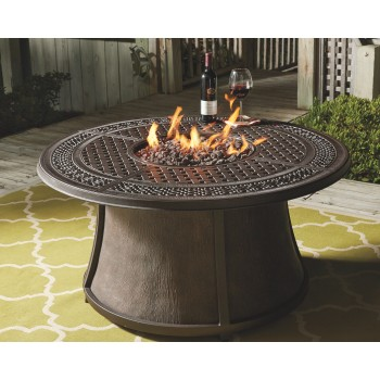 Burnella Outdoor Round Chat Fire Pit Table