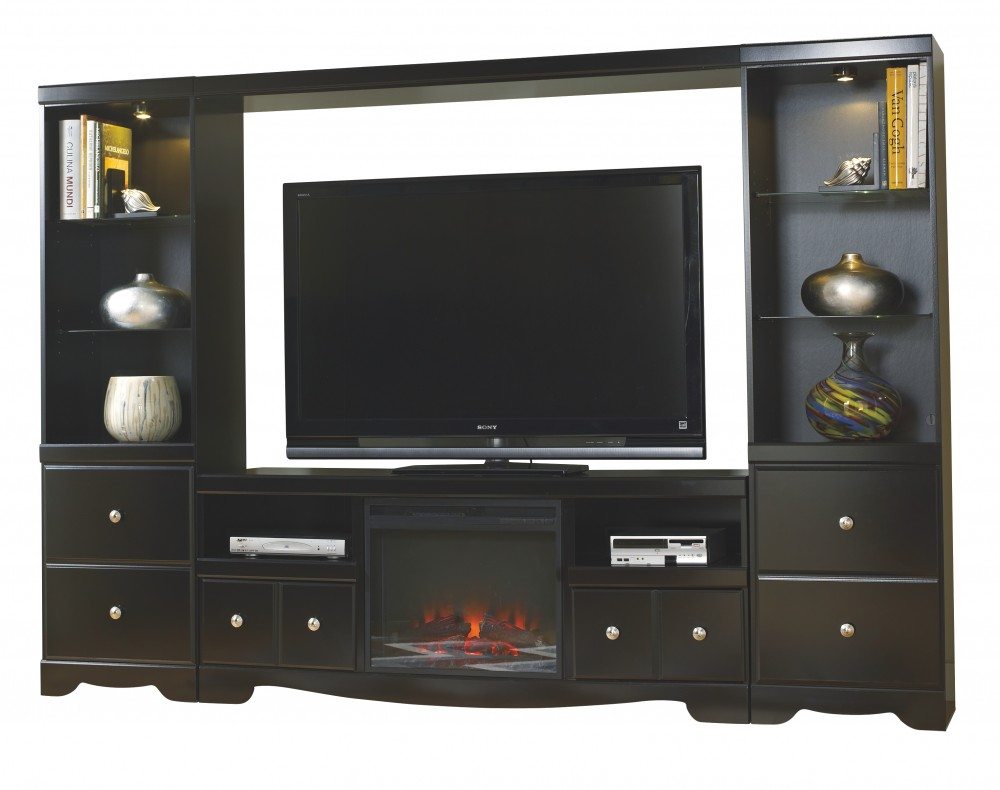 Shay 5 Piece Entertainment Wall Unit With Fireplace Entertainment
