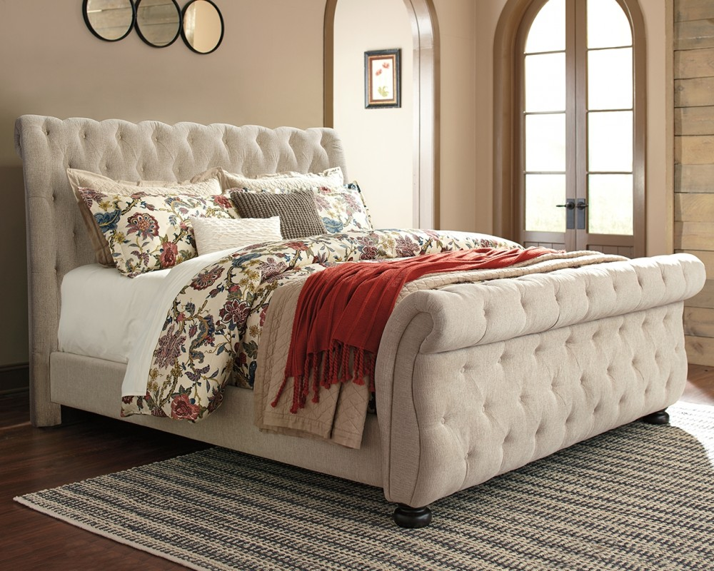- Willenburg - Queen Upholstered Sleigh Bed B643B3-74-77-98