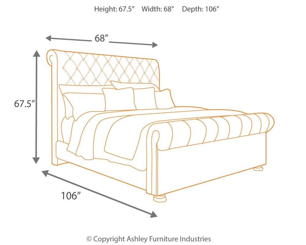 Windville Queen Upholstered Sleigh Bed B662b2 54 57 96 Complete