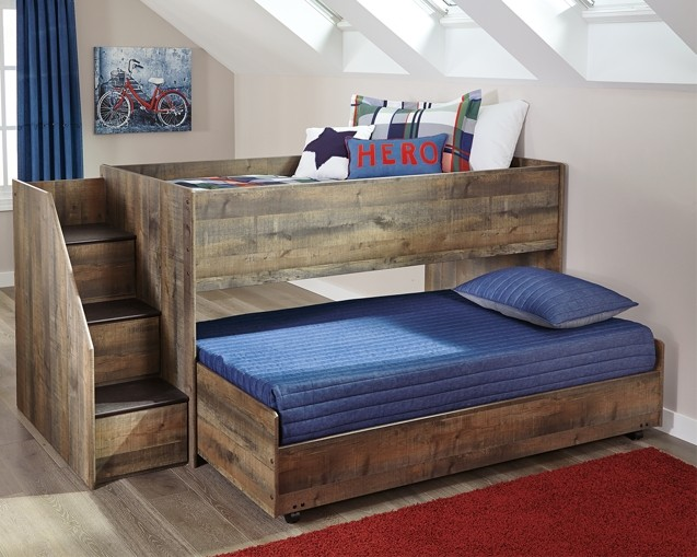 Trinell Trinell Twin Loft Bed With Pull Out Caster Bed