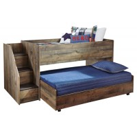 Trinell - Twin Loft Bed with Pull-out Caster Bed