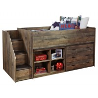 Trinell - Twin Loft Bed with 3 Drawer Storage and Bookcase