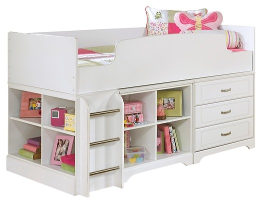 Lulu - Twin Loft Bed with 3 Drawer Storage and Bookcase