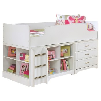 Lulu - Lulu Twin Loft Bed with 3 Drawer Storage and Bookcase