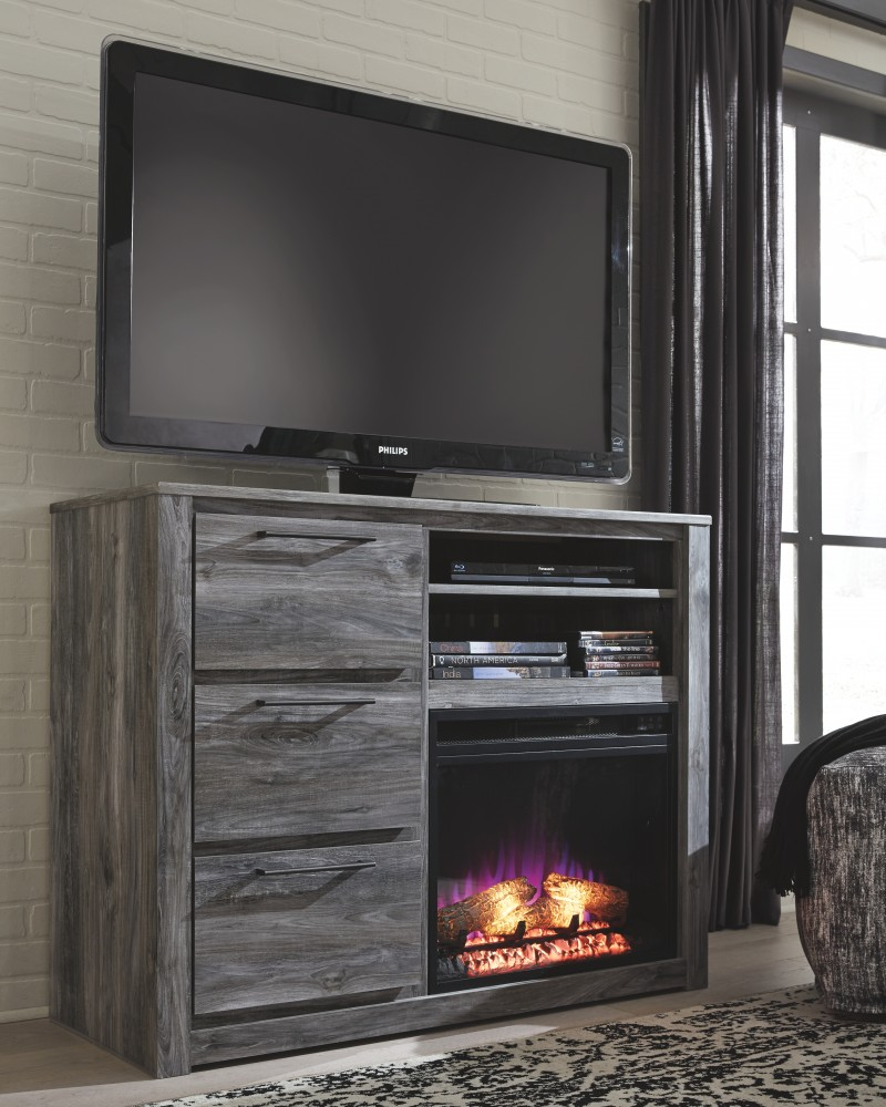 Baystorm Media Chest with Fireplace