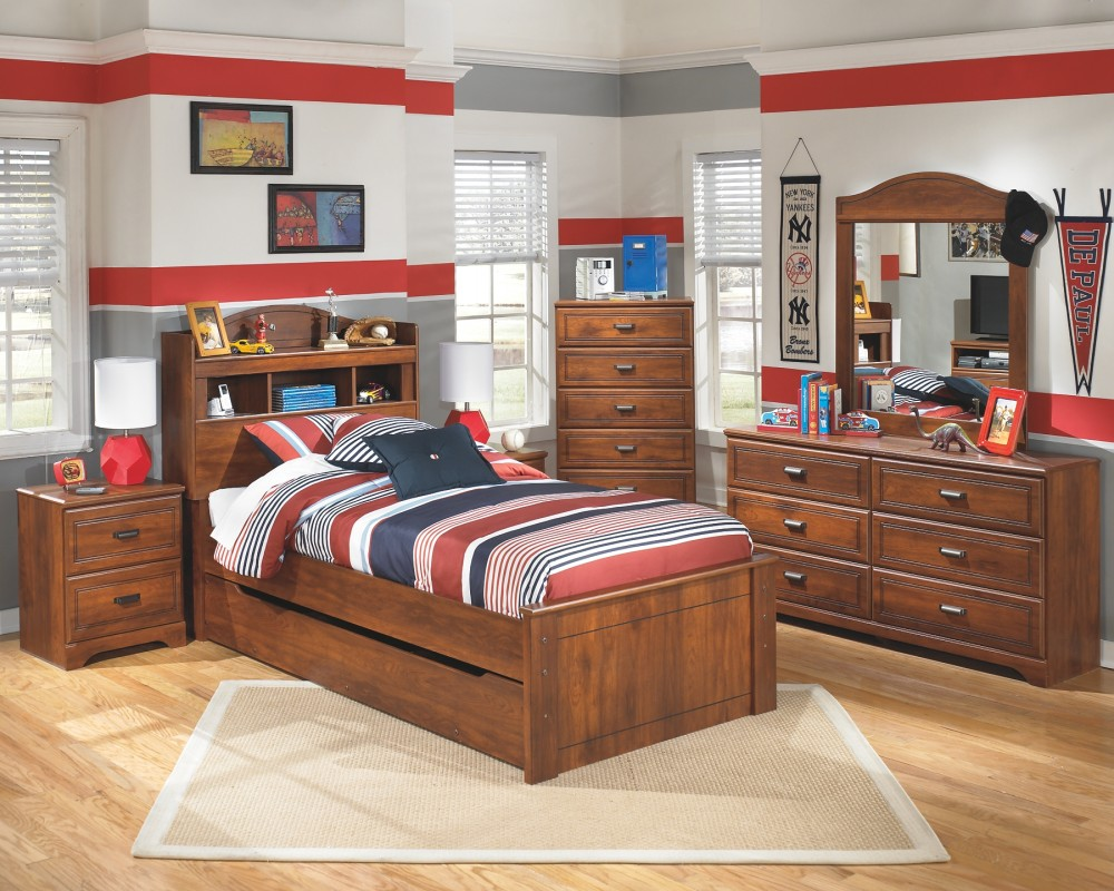 Barchan Barchan Twin Bookcase Bed With Trundle B228b24