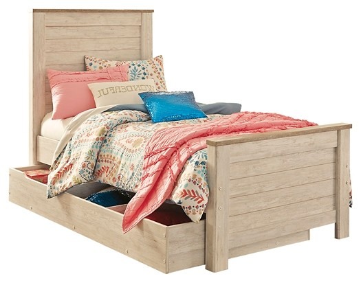 Willowton - Twin Panel Bed with 1 Large Storage Drawer