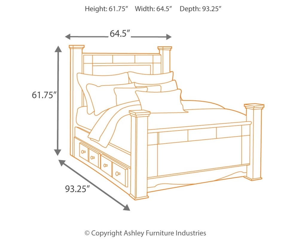 Shay Queen Poster Bed With 2 Storage Drawers B271b17 B27150 B27161 B27164 B27167 B27198