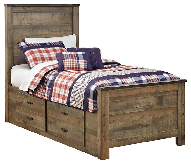 Trinell - Twin Panel Bed with 2 Storage Drawers