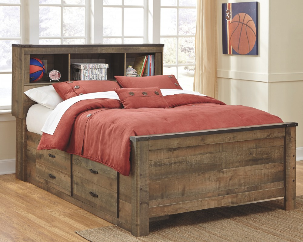 Trinell Trinell Full Panel Bed With Drawer Storage