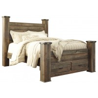 Trinell - Queen Poster Bed with 2 Storage Drawers