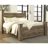 Trinell - King Poster Bed with 2 Storage Drawers