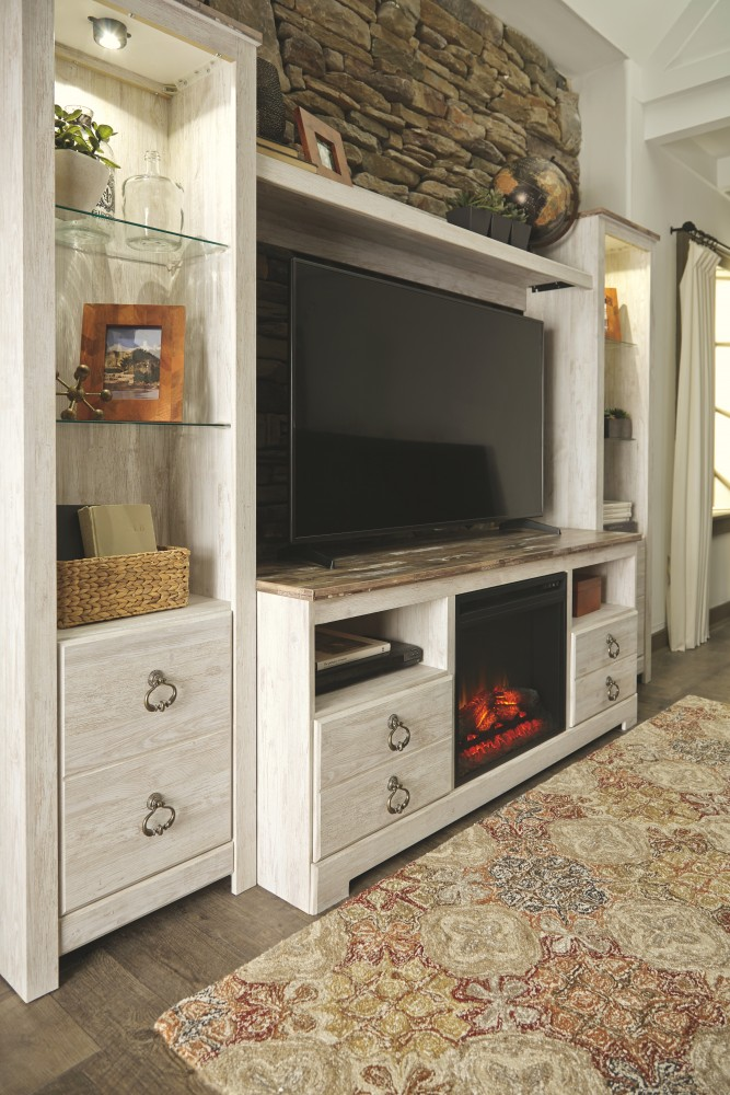 willowton 4 piece entertainment center with fireplace w267w1 w10001 24 27 68 entertainment. Black Bedroom Furniture Sets. Home Design Ideas